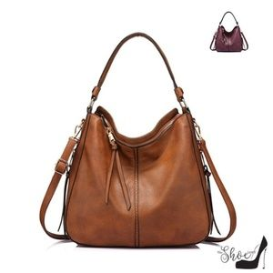 "My Bag Lady Online Bags - ""Layla"" Cognac Large Hobo Shoulder Bag"